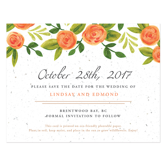 Watercolor Roses Plantable Save The Date Cards
