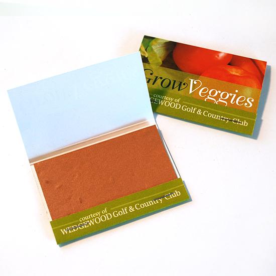 Large Veggie Seed Paper Matchbooks, Single-Sided