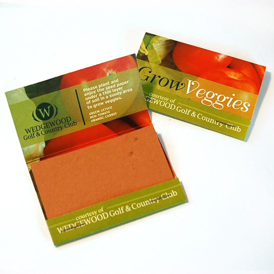 Large Veggie Seed Paper Matchbooks, Double-Sided