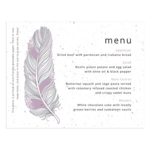 Feather Plantable Menu Cards
