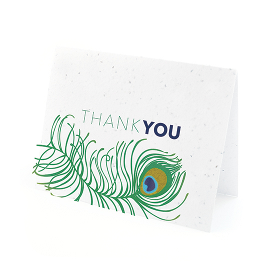 Peacock plantable seed thank you cards