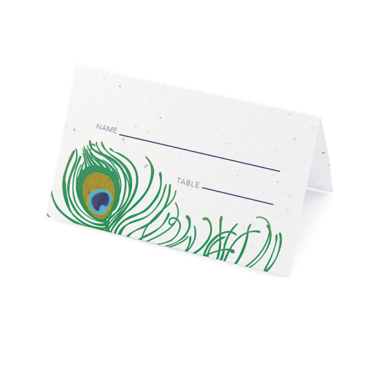 Peacock plantable place cards