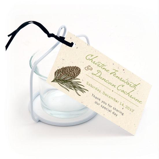 Pinecone plantable favor tags