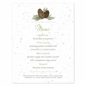 Pinecone plantable menu cards