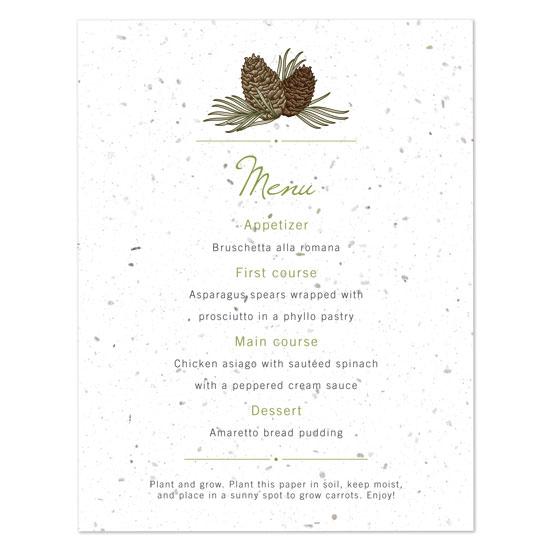 Pinecone plantable menu cards