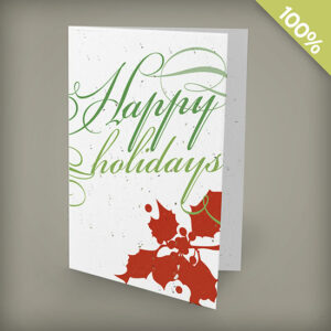 Holly Happy Holidays plantable personalized Christmas cards