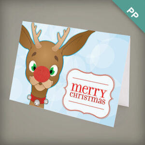 Friendly reindeer plantable personalized christmas cards