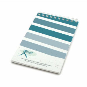 Striped coil bound personalized plantable pocket notepads