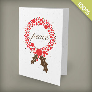 Peace wreath plantable personalized christmas cards