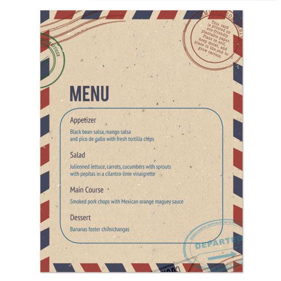 Plantable passport menu cards