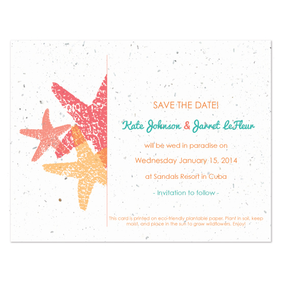 Plantable Starfish save the date cards