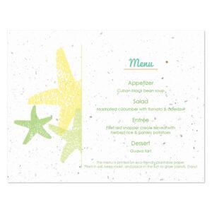 Plantable starfish menu cards