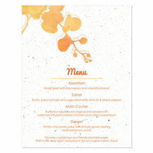 Plantable watercolor orchids menu cards