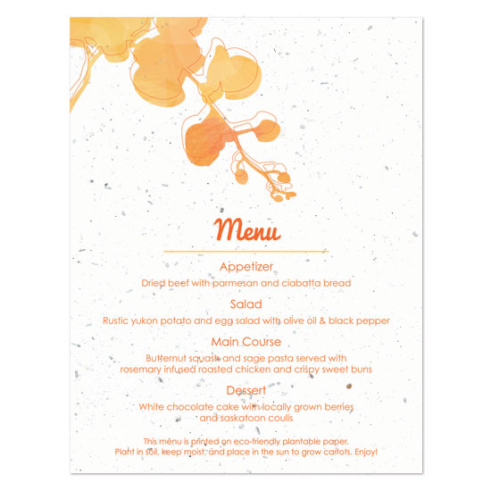 Plantable watercolor orchids menu cards