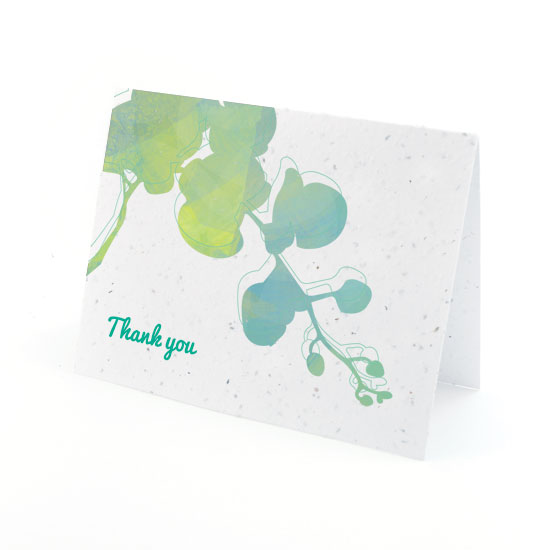 Plantable watercolor orchids thank you cards
