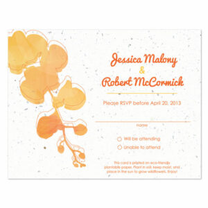 Plantable watercolor orchids reply cards