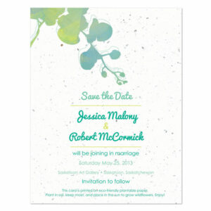 Plantable watercolor orchids save the date cards