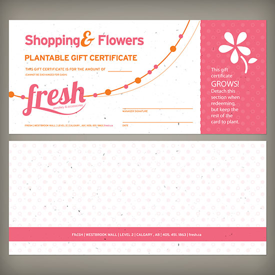 Seed Paper Gift Certificates