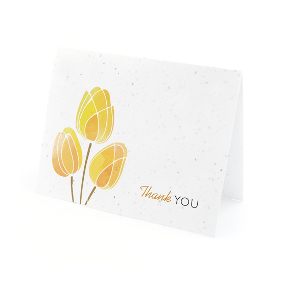 Watercolor Tulips Plantable Thank You Cards