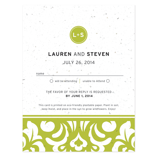 Plantable Modern Damask Reply Cards