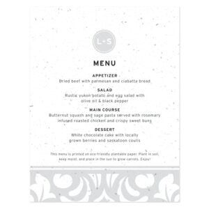Plantable Modern Damask Menu Cards