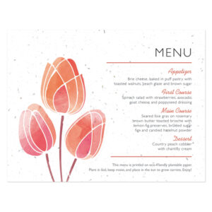 Watercolor Tulips Plantable Menu Cards