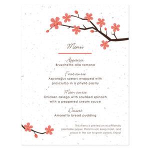 Cherry Blossom Plantable Menu Cards