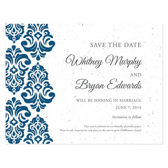 Plantable Classic Damask Save The Date Cards