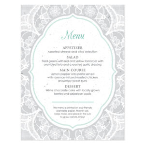 Romantic Lace Seed Menu Cards