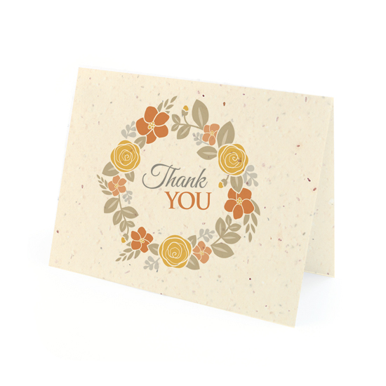 Floral Wreath Seasons Thank You Cards
