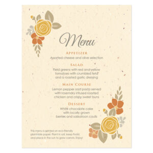 Floral Wreath Seasons Menu Cards