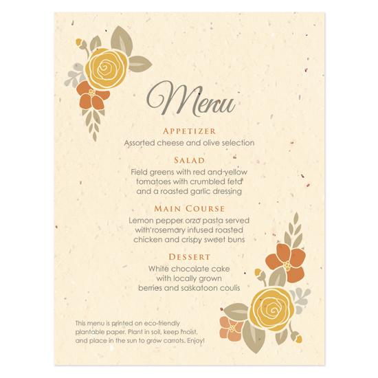 Floral Wreath Seasons Menu Cards