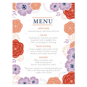 Bloom Seed Menu Cards