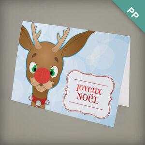 Friendly Reindeer Joyeux Noël Personalized Cards