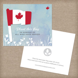 Patriotic and symbolic, these Canadian Seed Paper Flag Veteran Memorial Cards were made special for veterans.