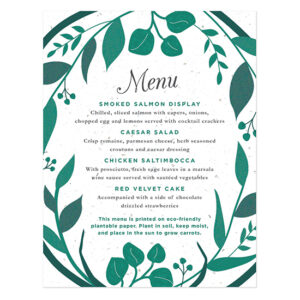 Elegant and eco-friendly this Classic Greenery Plantable Menu Card can be planted to grow carrots!