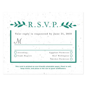 Designed to match the Classic Greenery Wedding Invitations, these elegant seed paper reply cards are a beautiful way to gather replies for your event.