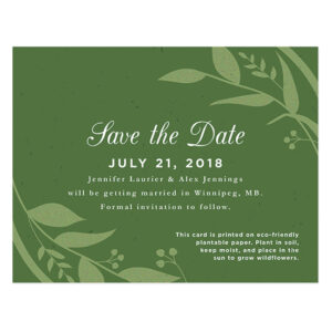 Perfect for eco-friendly wedding, these plantable save-the-date cards will announce your elegant and natural wedding in a waste-free way.