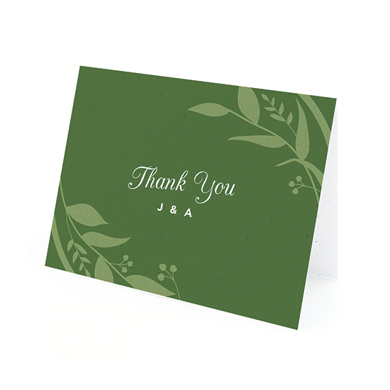 Plant these Classic Greening Seed Paper Thank You Cards to grow real greenery in a pot of soil or a garden.