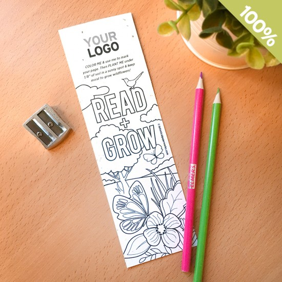 An eco-friendly giveaway for schools or libraries, these coloring bookmarks will encourage reading and give back to the environment since they are plantable!