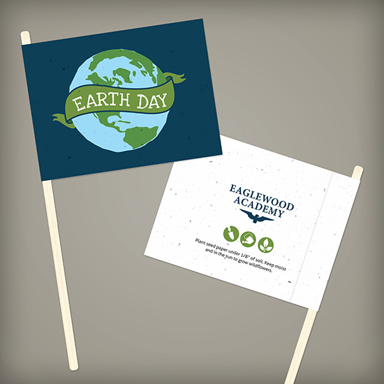 Celebrate in an eco-friendly way with these Double-Sided Seed Paper Promotional Flags that reduce waste.