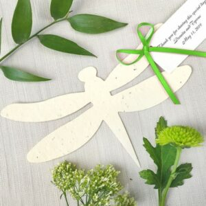 These eco-friendly Dragonfly Plantable Favors are made with seeded paper.