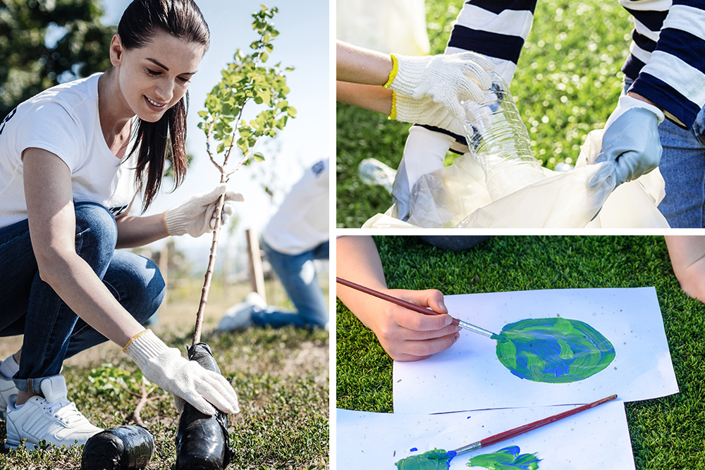 Earth Day tree planting, painting and neighborhood cleanup activities