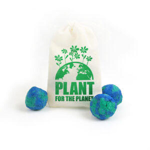 Get noticed this Earth Day with these Earth Day Seed Bombs Muslin Bag 3 that include 3 seed bombs packed with NON-GMO seeds that will help grow habitats for important pollinators.