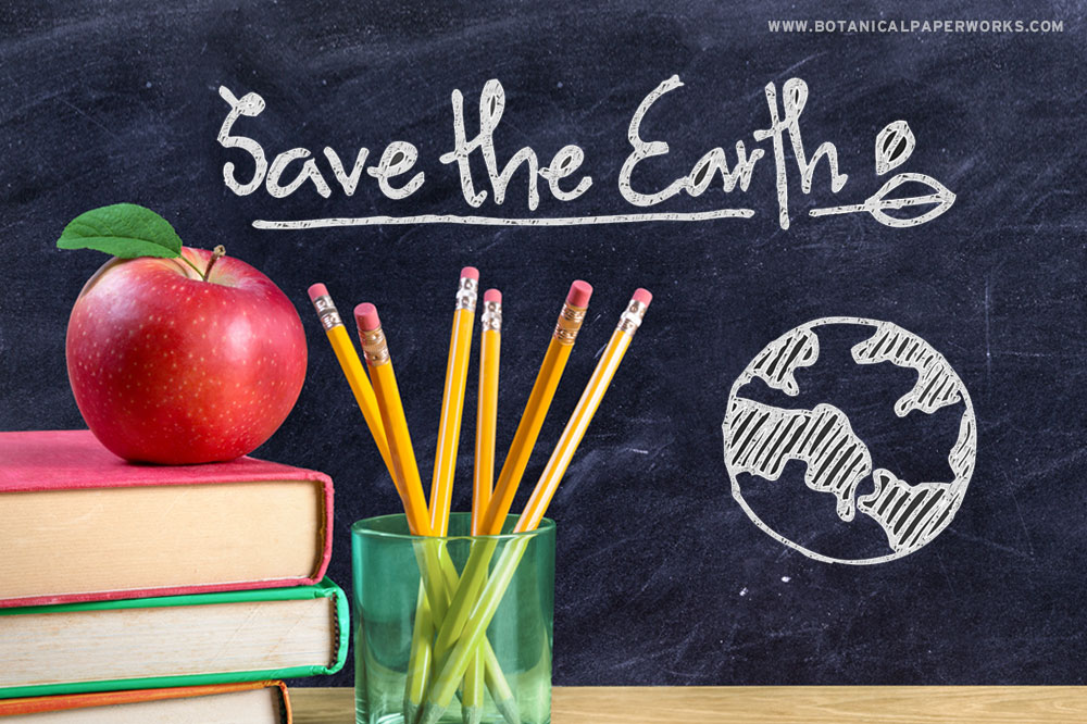 Save the Earth graphic with school supplies