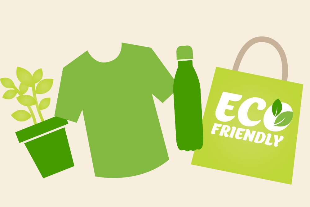 vector illustration of eco friendly promotional products