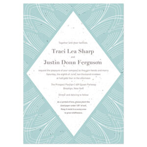 These eco-friendly Elegant Lines Seed Paper Wedding Invitations are printed on seed paper embedded with NON-GMO seeds that grow beautiful plants instead of leaving waste behind.