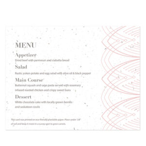 These Elegant Lines Seed Paper Menu Cards share your menu details in a waste-free way that will give your guests a gift to take home too.