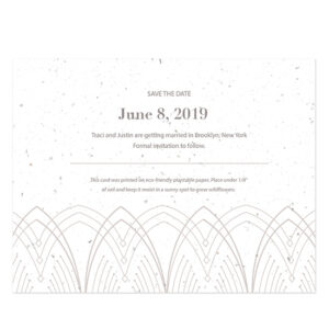 Each of these Elegant Lines Seed Paper Save The Date Cards is biodegradable and is embedded with NON-GMO seeds that grow colorful wildflowers when planted in soil.