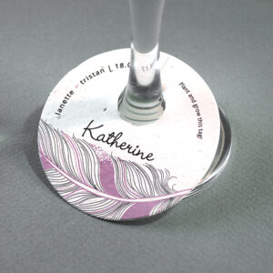 These Feather Plantable Wine Glass Tags will add a chic bohemian touch to your eco-friendly wedding.